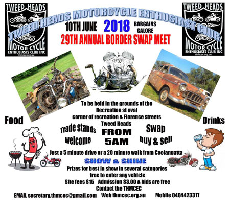 Tweed Heads Motorcycle Enthusiast Club 29th Annual Border Swap Meet